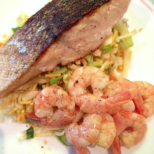 Salmon, prawns and salad