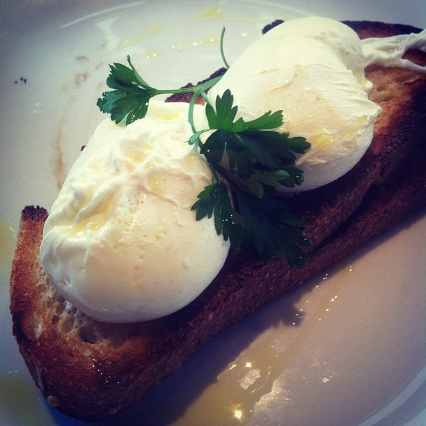 poached eggs on sourdough