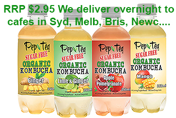 Pep Tea Organic Kombucha cafe deliveries